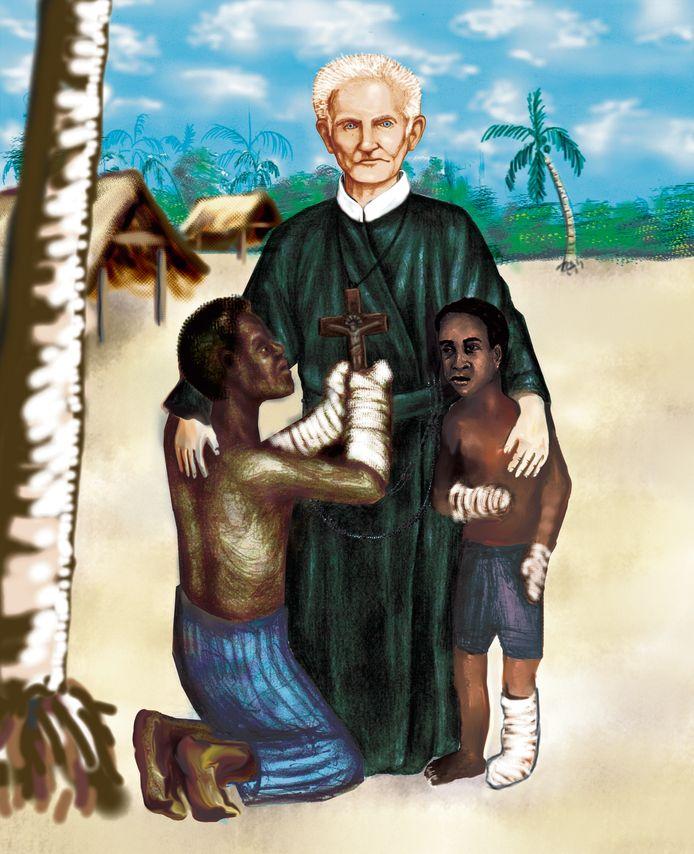 De Tilburgse weverszoon Peerke Donders werkte decennialang als pater te midden van Surinaamse melaatsen. © Onbekend